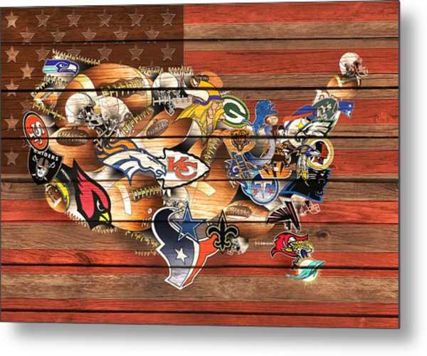 Usa Nfl Map Collage 10 Metal Print