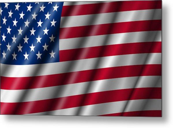 Usa Stars And Stripes Flying American Flag Metal Print