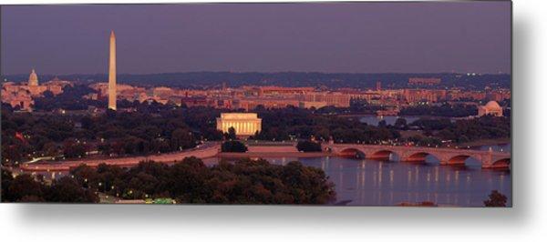 Usa, Washington Dc, Aerial, Night Metal Print
