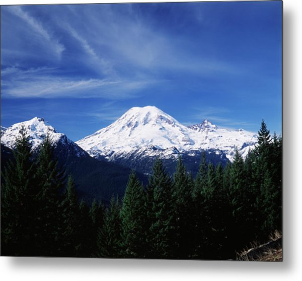 Usa, Washington State, View Of Mount Metal Print by Paul Souders