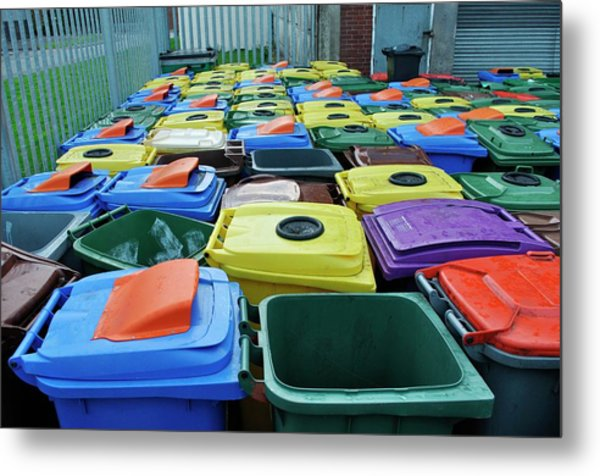Used And Damaged Wheelie Bins In Compound Metal Print