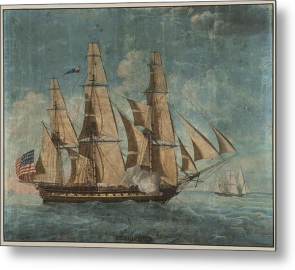 Metal Print featuring the painting Uss Constitution 1803 by Celestial Images