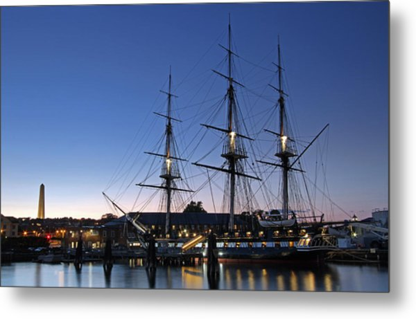 Uss Constitution And Bunker Hill Monument Metal Print