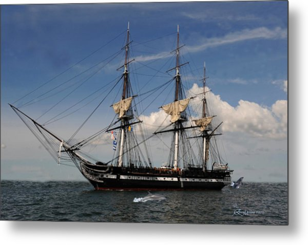 Uss Constitution - Featured In Comfortable Art Group Metal Print