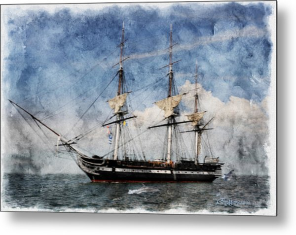 Uss Constitution On Canvas - Featured In 'manufactured Objects' Group Metal Print