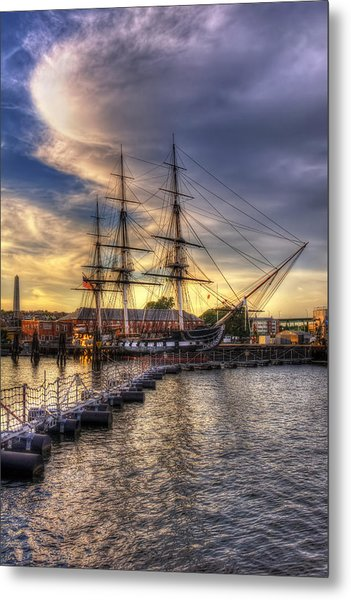 Uss Constitution Sunset - Boston Metal Print
