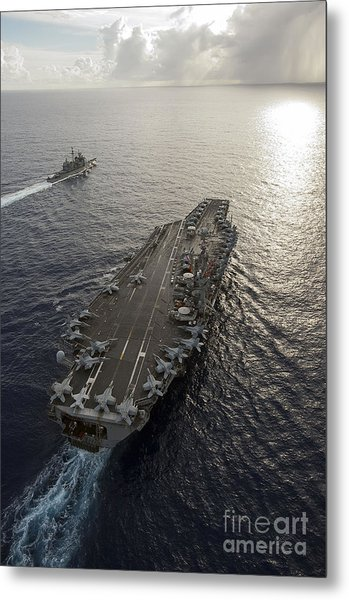 Uss George Washington And Uss Mobile Metal Print
