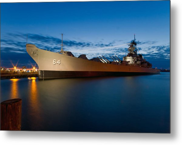Uss Wisconsin At Sunset Metal Print