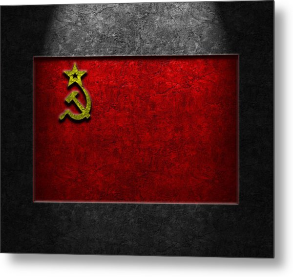 Metal Print featuring the digital art Ussr Flag Stone Texture by The Learning Curve Photography