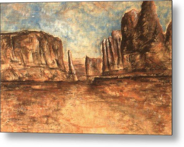 Utah Red Rocks - Landscape Art Painting Metal Print