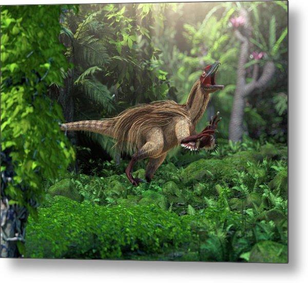 Utahraptor Dinosaur Metal Print by Roger Harris