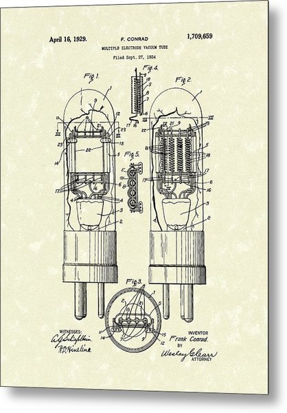 Metal Print featuring the drawing Vacuum Tube 1929 Patent Art by Prior Art Design