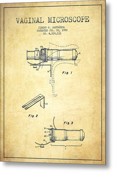 Vaginal Microscope Patent From 1980 - Vintage Metal Print by Aged Pixel
