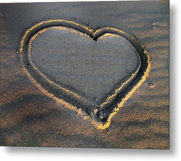 Valentine's Day - Sand Heart Metal Print