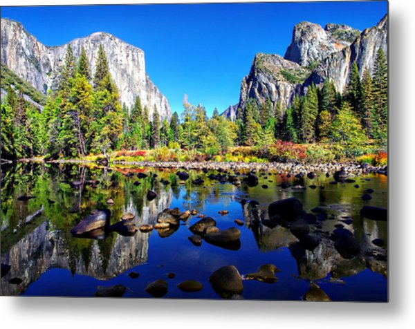 Valley View Reflection Yosemite National Park Metal Print