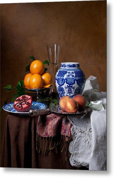 Van Beijeren - Banquet With Chinese Porcelain And Fruits Metal Print