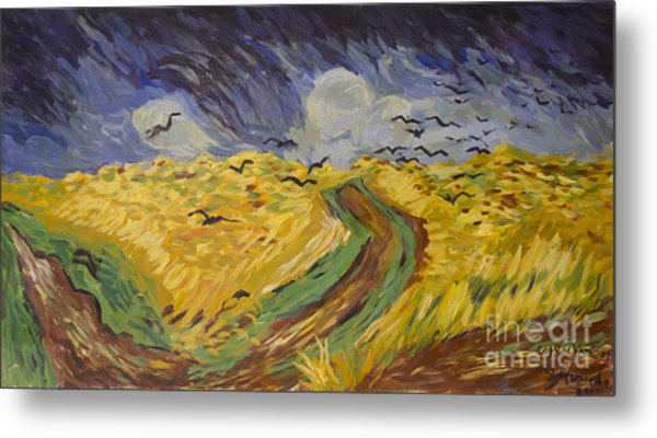 Van Gogh Wheat Field With Crows Copy Metal Print