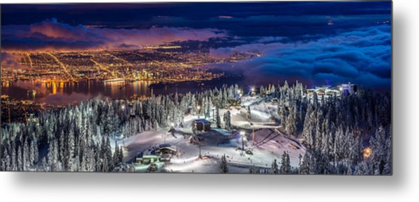 Vancouver City Panorama From Grouse Mountain  Metal Print