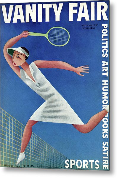 Vanity Fair Cover Featuring Helen Wills Playing Metal Print by Miguel Covarrubias