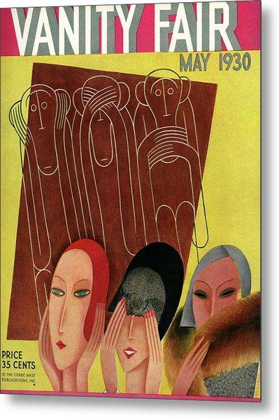 Vanity Fair Cover Featuring Three Monkeys Metal Print by Miguel Covarrubias