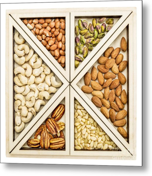 Variety Of Nuts Abstract Metal Print