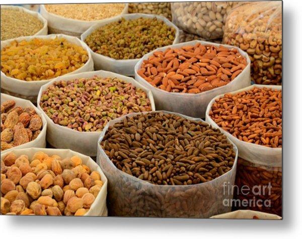 Variety Of Raw Nuts For Sale At Outdoor Street Market Karachi Pakistan Metal Print