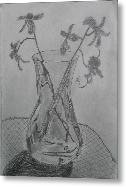 Metal Print featuring the drawing Vase by AJ Brown