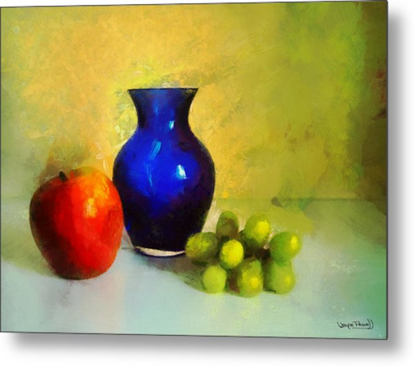 Vase And Fruits Metal Print