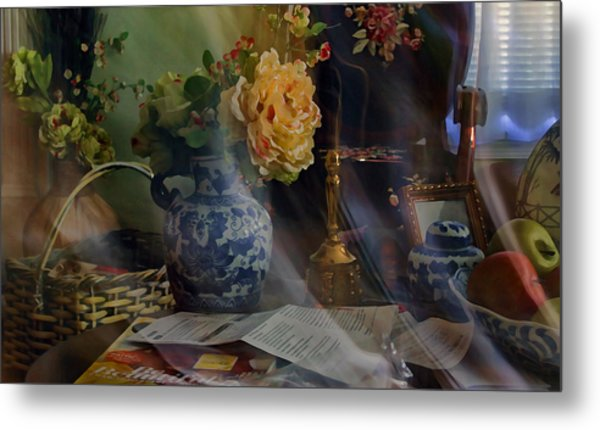 Blue Vase And Flowers  Metal Print