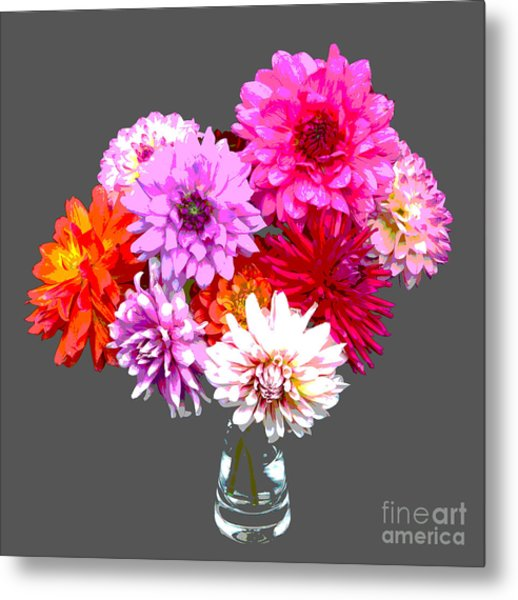 Vase Of Bright Dahlia Flowers Posterized Metal Print by Rosemary Calvert