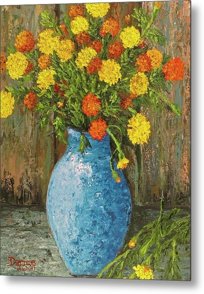 Vase Of Marigolds Metal Print