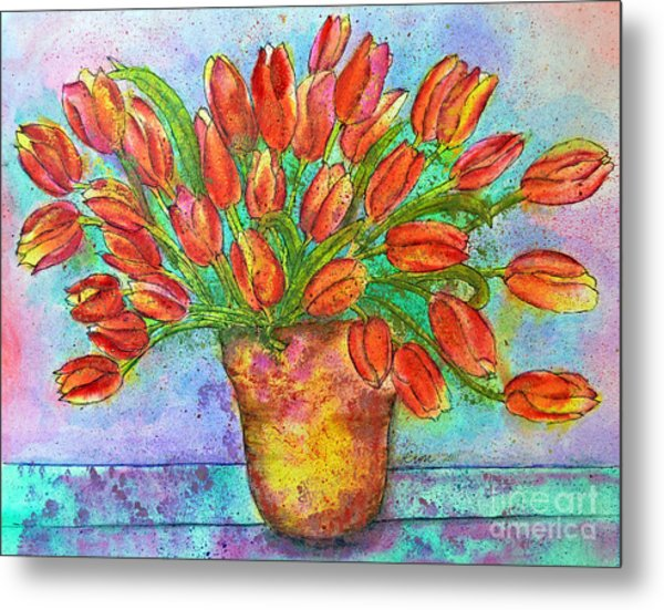 Vase Of Tulips Metal Print by Dion Dior