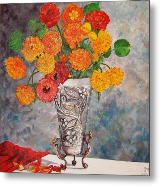 Vase With Bird Metal Print