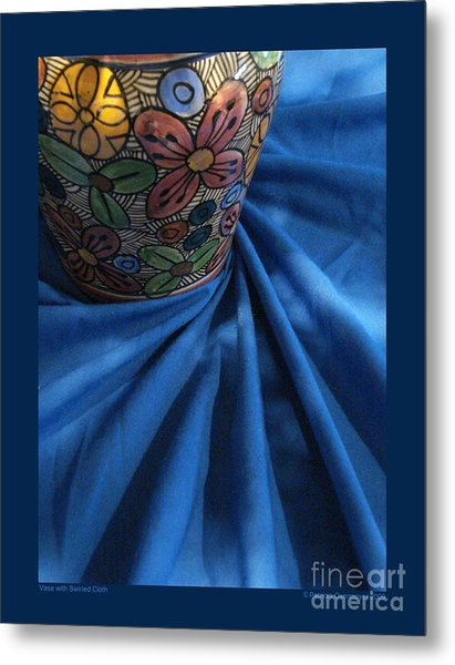 Vase With Swirled Cloth Metal Print