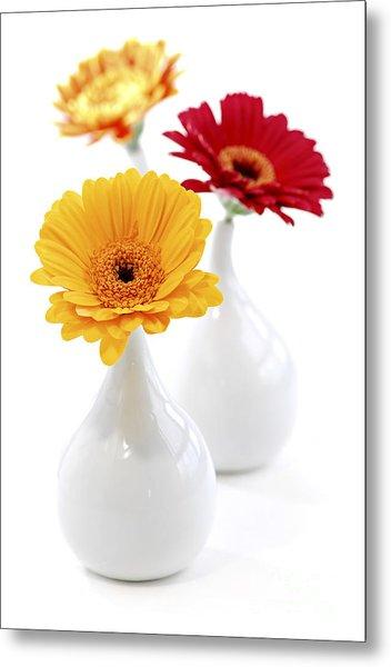 Vases With Gerbera Flowers Metal Print