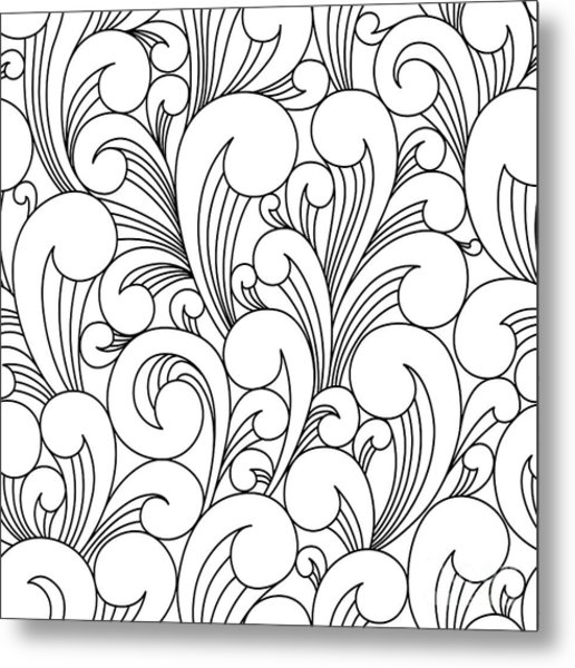 Vector Black And White Pattern With Metal Print by Maria galybina