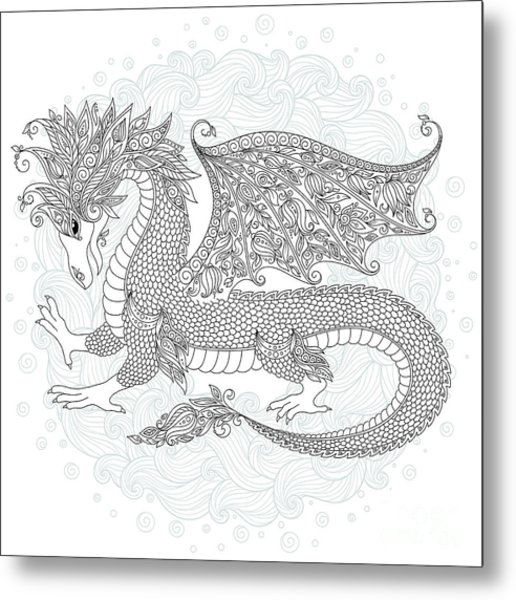 Vector Cartoon Dragon. Hand Drawn Metal Print