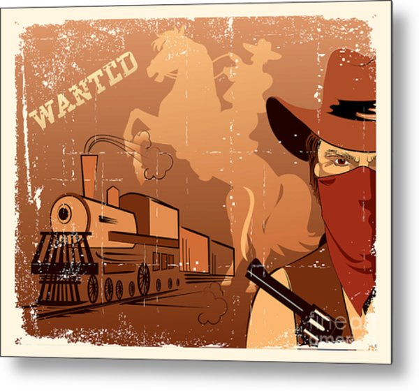 Vector Cowboy And Train. Western Grunge Metal Print