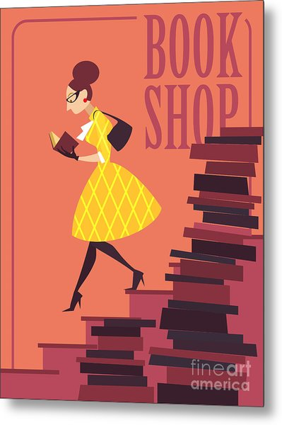 Vector Illustration Of Bookstore, Books Metal Print by Porcelain White