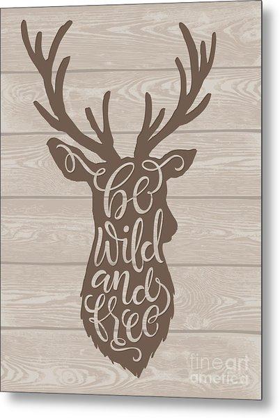 Vector Illustration Of Deer Silhouette Metal Print