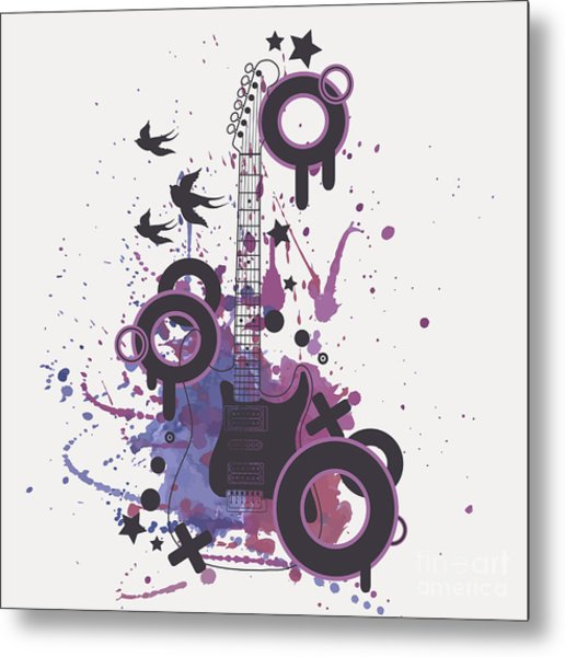 Vector Illustration Of Electric Guitar Metal Print