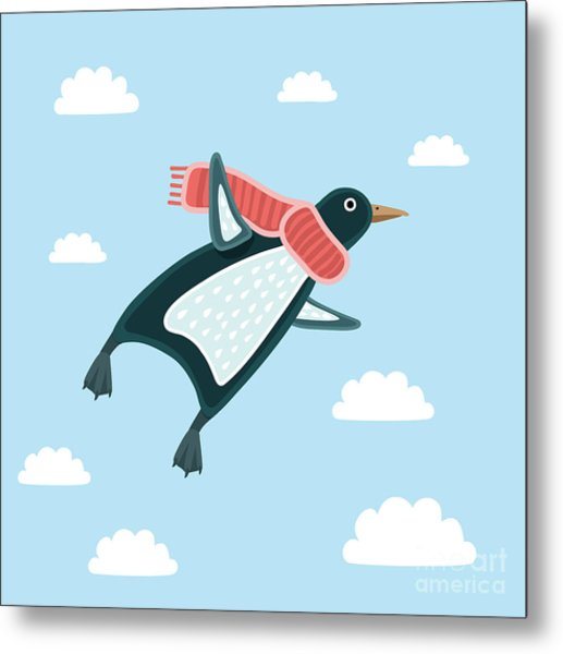 Vector Illustration Of The Flying Metal Print