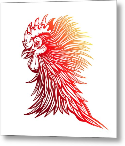 Vector Red Rooster Head Illustration Metal Print
