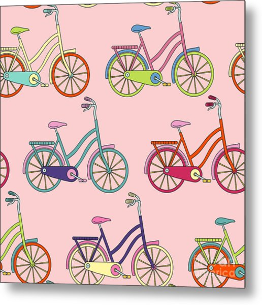 Vector Seamless Pattern With Bicycle Metal Print
