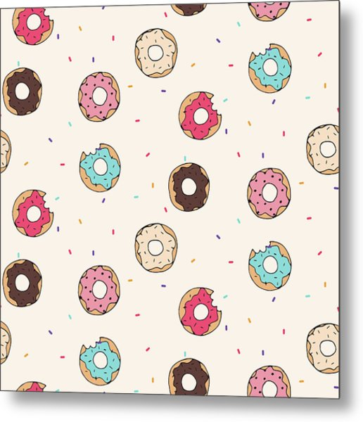 Vector Seamless Pattern With Donuts Metal Print