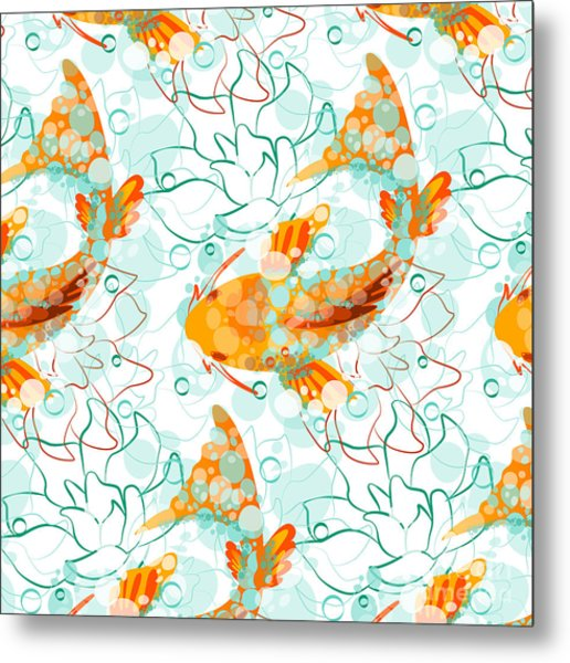 Vector Seamless Pattern With Koi Fish Metal Print