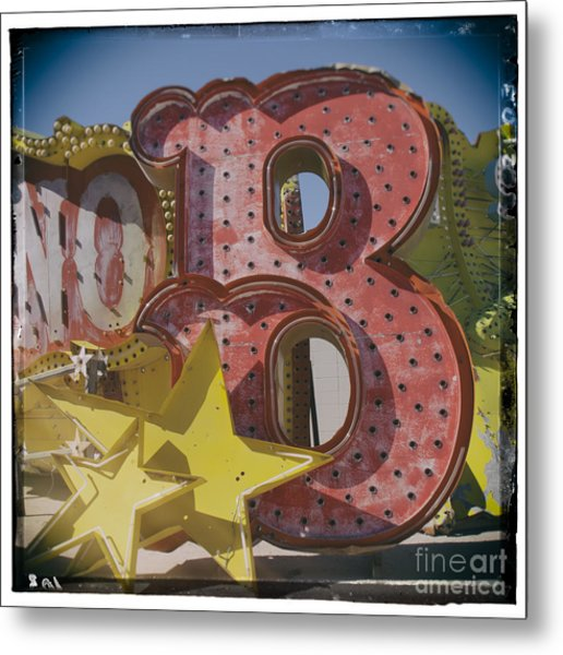 Vegas Red Letter B Metal Print