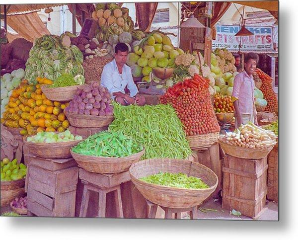 Vegetable Seller In Indian Market Metal Print