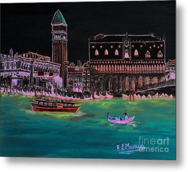 Venice At Night Metal Print