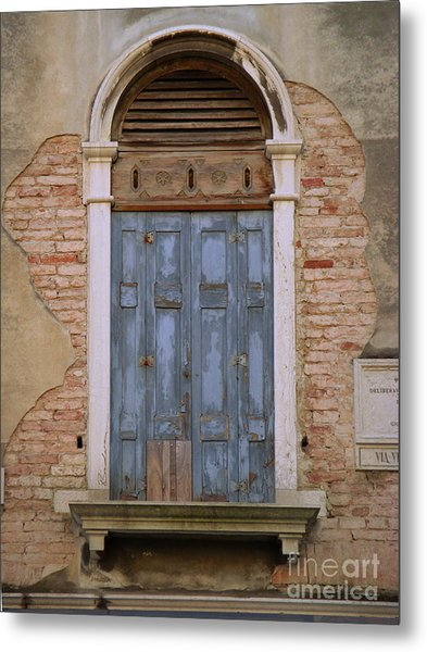 Venice Blue Arched Window Metal Print